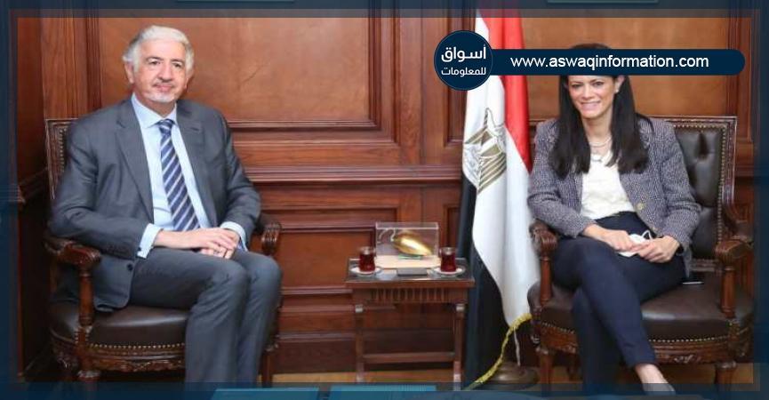 رانيا المشاط مع الرئيس التنفيذى للمؤسسة الدولية الإسلامية